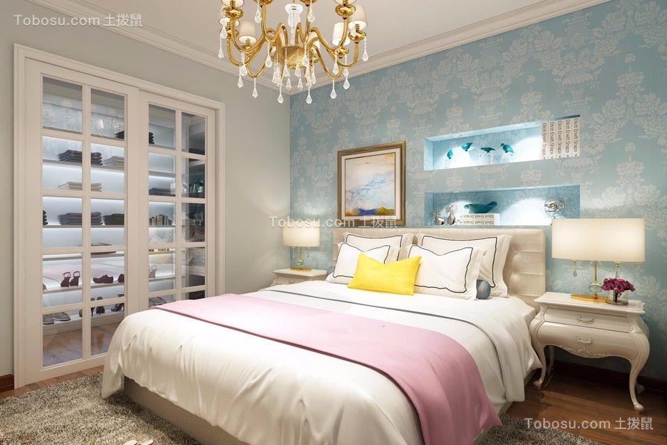 卧室蓝色背景墙简约风格装修设计图片