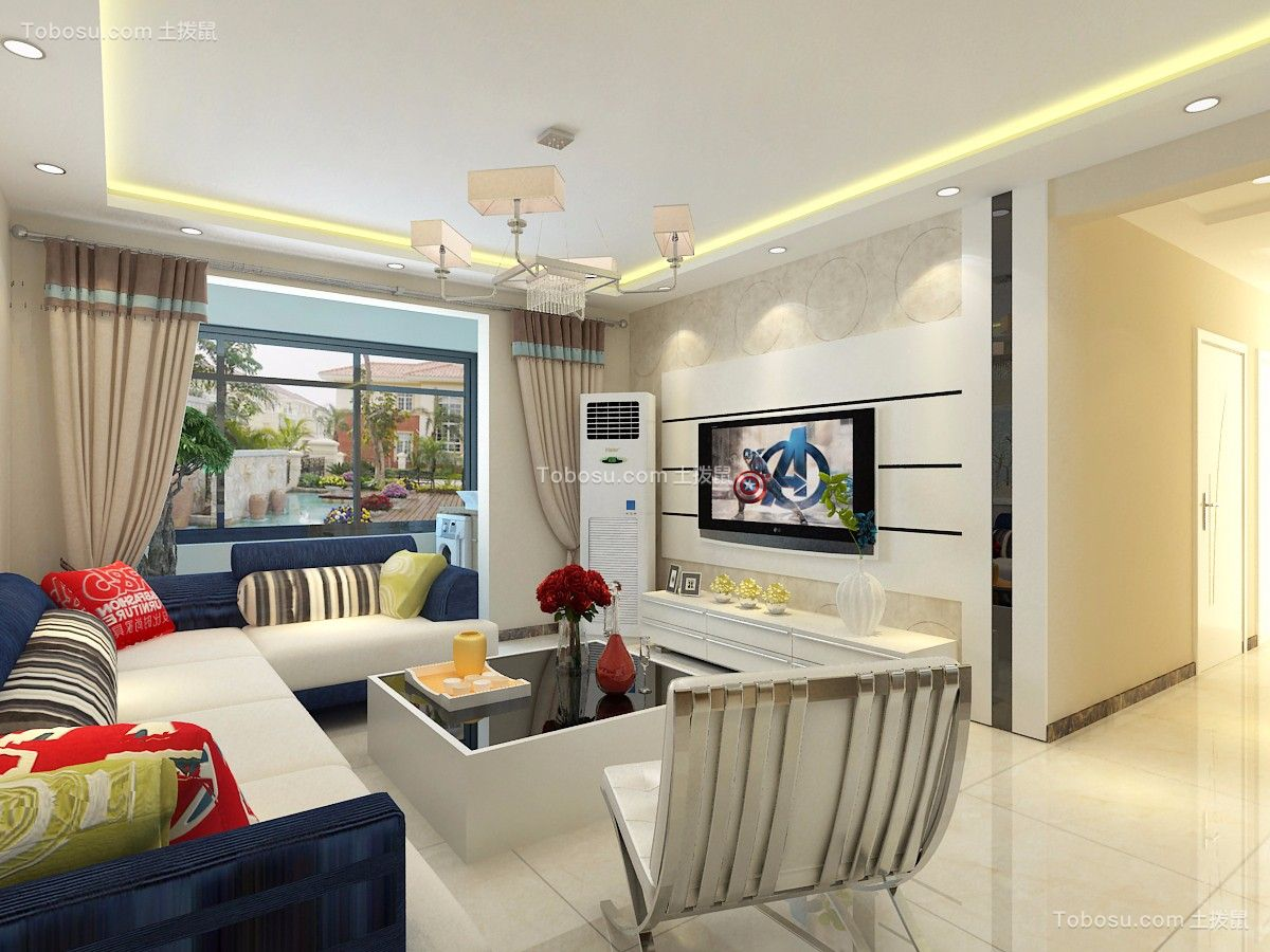 百步亭中国MALL115平三居室现代简约装修效果图