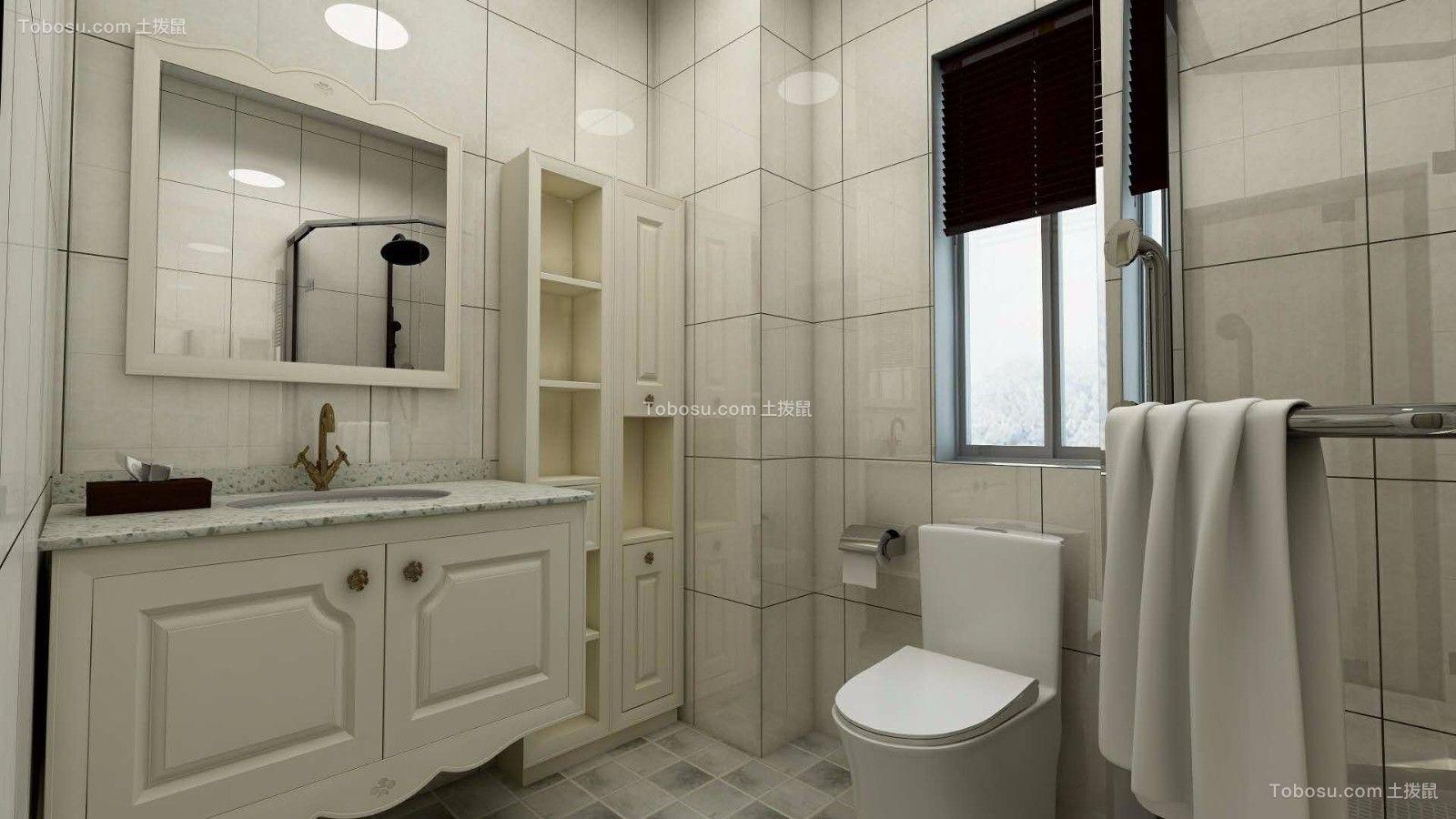 卫生间白色洗漱台简约风格效果图