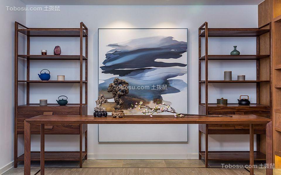 书房咖啡色书桌新中式风格装修图片