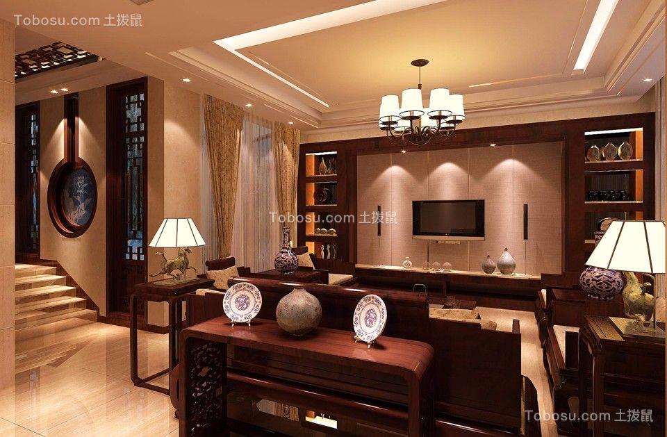 客厅橙色吊顶中式风格效果图