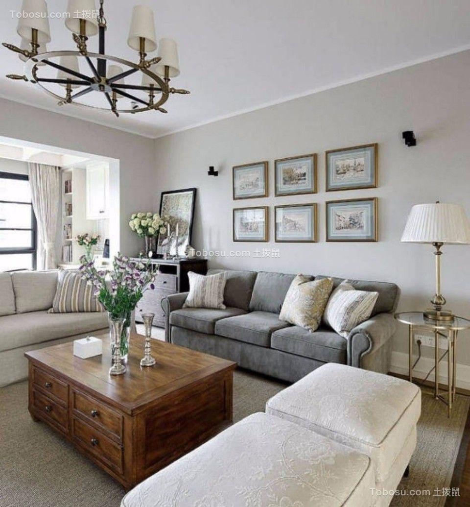 客厅灰色沙发美式风格装饰图片