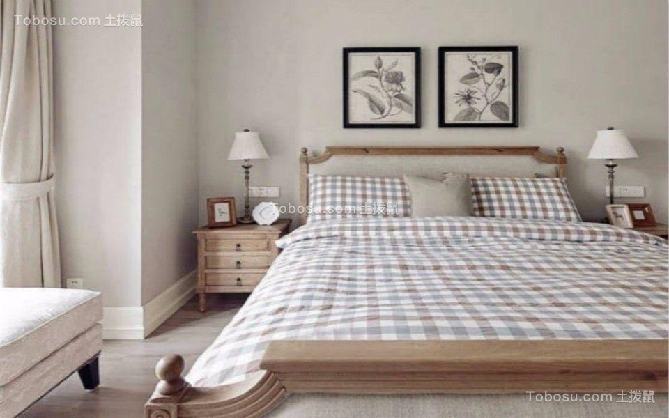 卧室咖啡色床头柜美式风格效果图