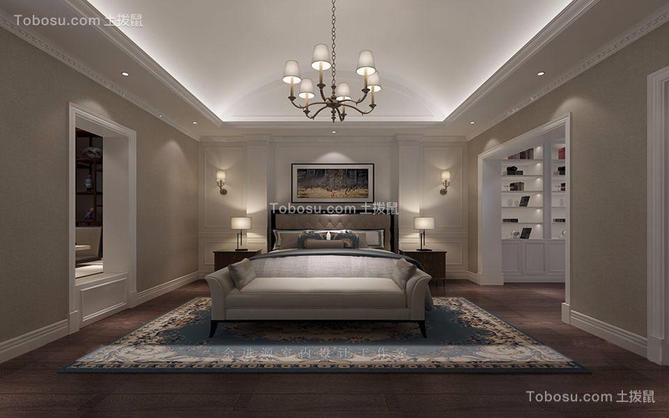 卧室米色床美式风格装潢图片