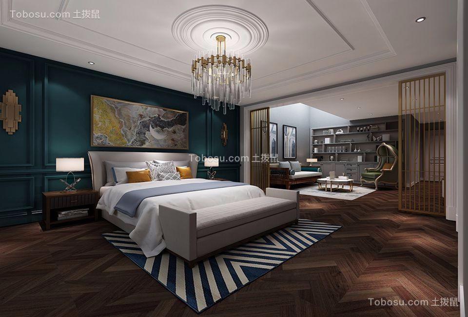 卧室灰色床美式风格装饰图片