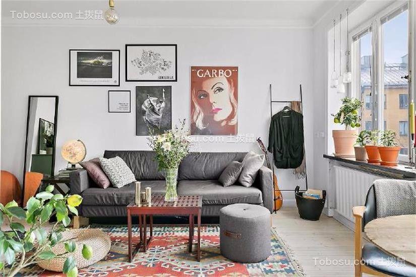 客厅灰色沙发北欧风格装饰设计图片