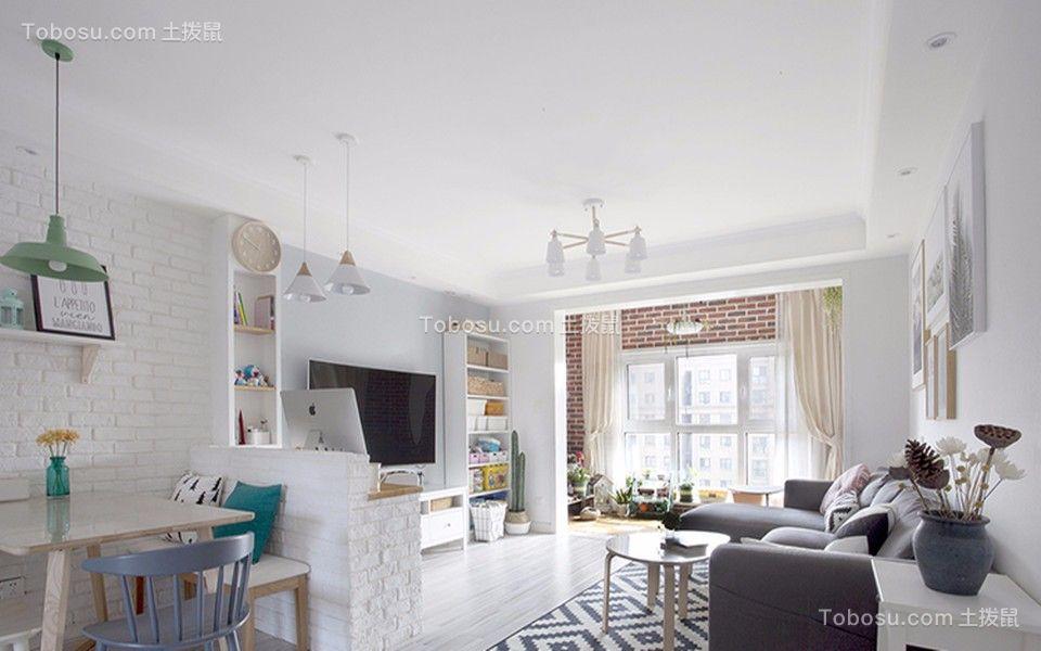 北欧风格76平米两室两厅新房装修效果图