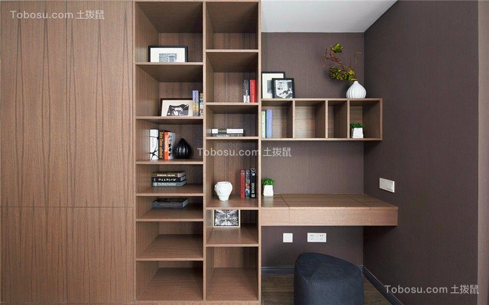 卧室咖啡色书架北欧风格装修效果图