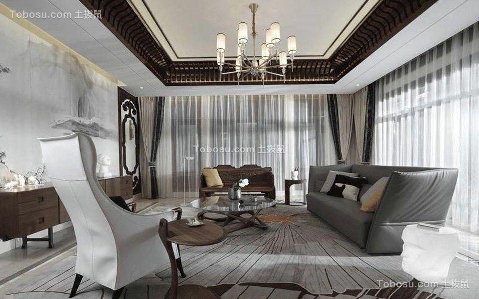 客厅灰色沙发混搭风格装潢效果图