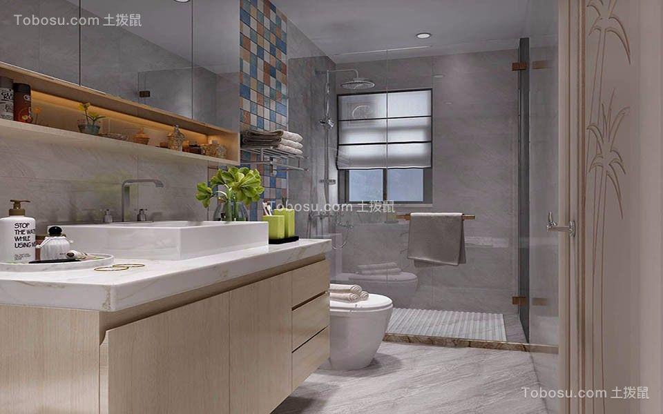 卫生间白色洗漱台美式风格装修图片