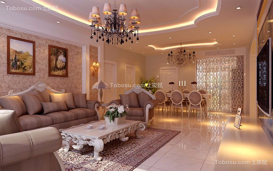客厅橙色灯具现代简约风格装饰效果图
