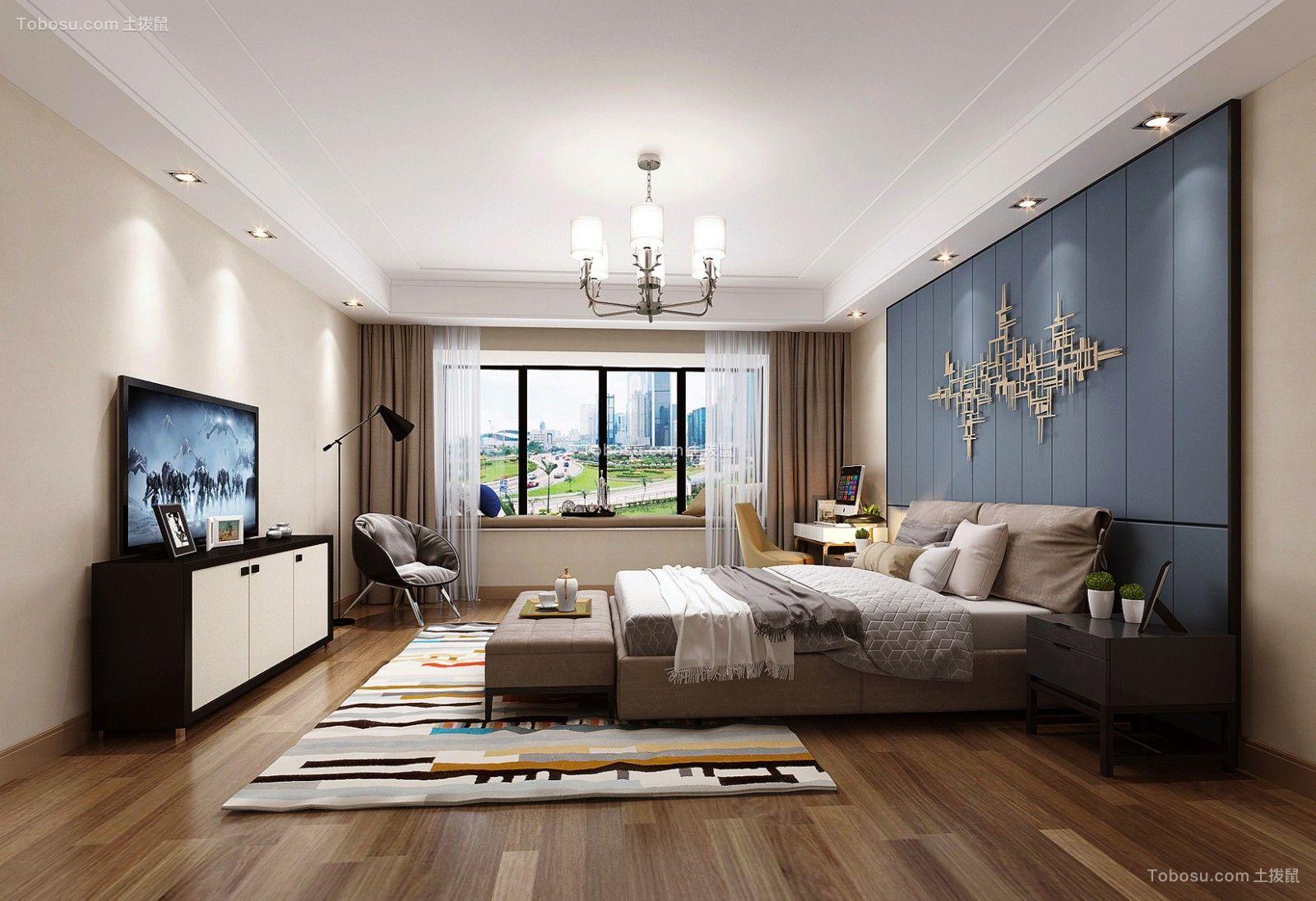 卧室米色床现代简约风格装潢设计图片