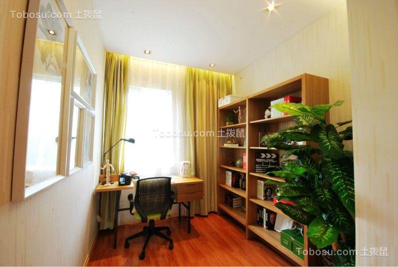 起居室黄色书桌简约风格装修设计图片