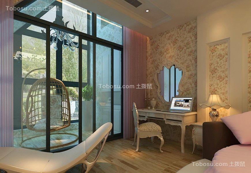 卧室粉色落地窗简约风格装潢设计图片