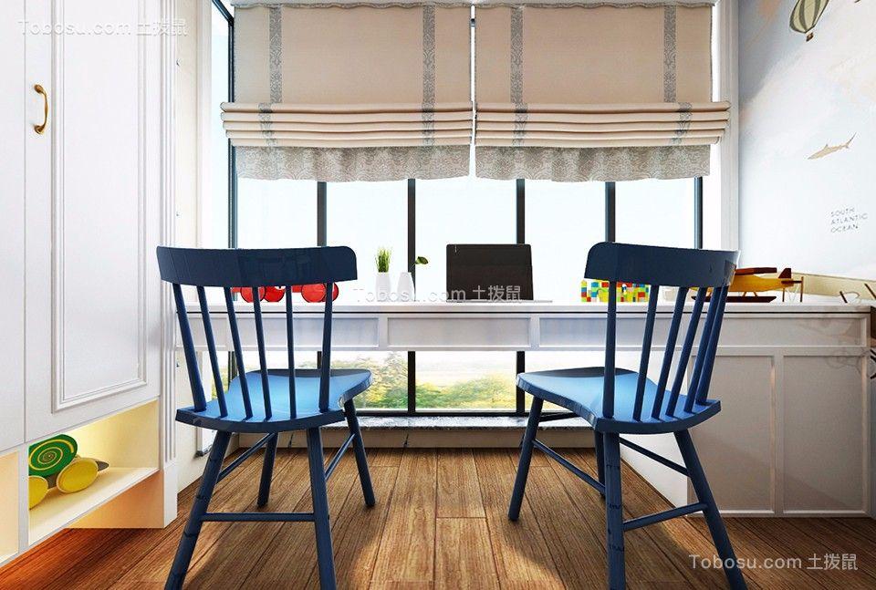 儿童房蓝色书桌美式风格装饰图片
