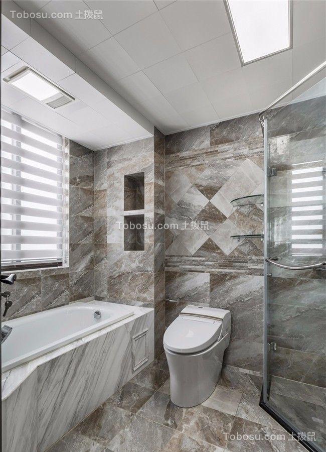 卫生间白色地板砖现代简约风格效果图