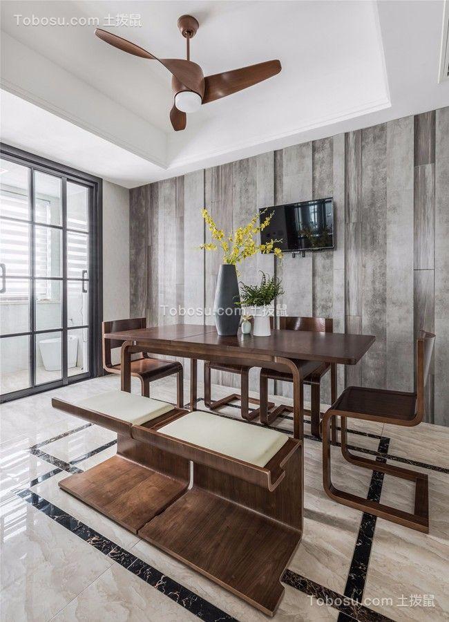 餐厅白色餐桌现代简约风格装修效果图