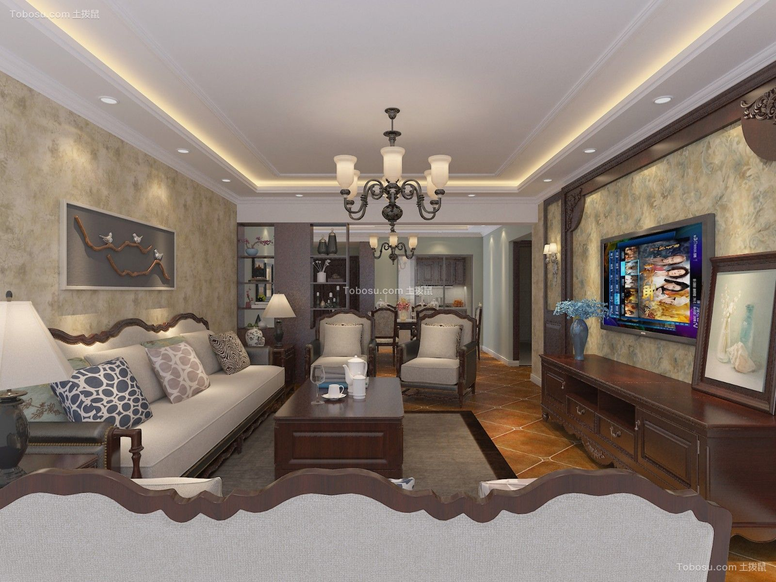 美式风格200平米四室两厅新房装修效果图