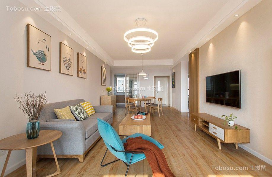 客厅橙色电视柜北欧风格装饰图片