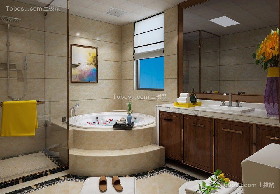 卫生间咖啡色洗漱台现代简约风格装饰效果图
