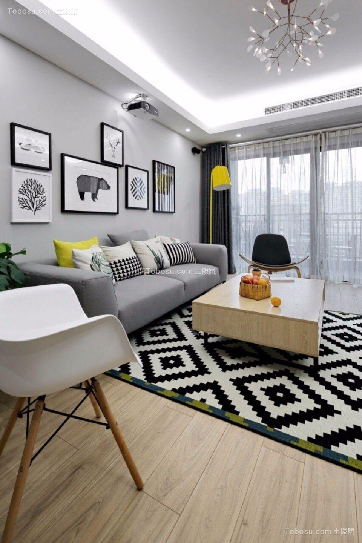 客厅灰色沙发北欧风格装修图片