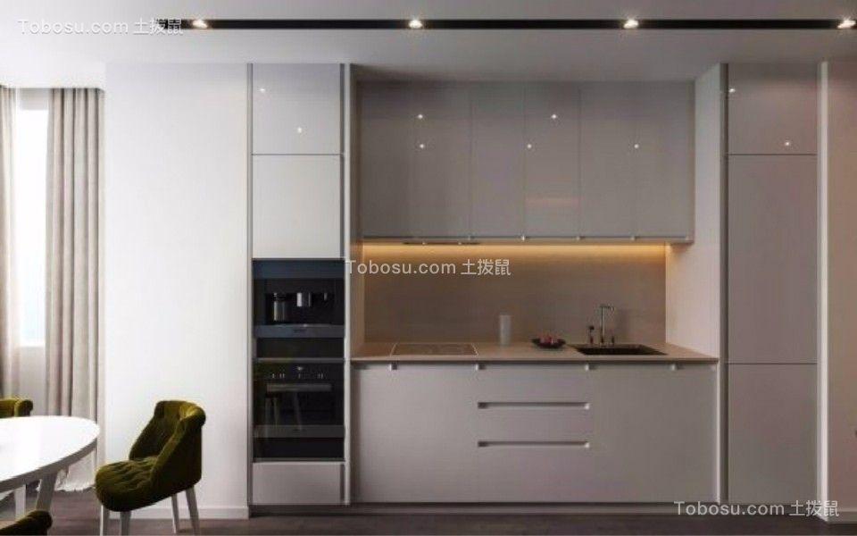 厨房白色厨房岛台现代简约风格装潢效果图