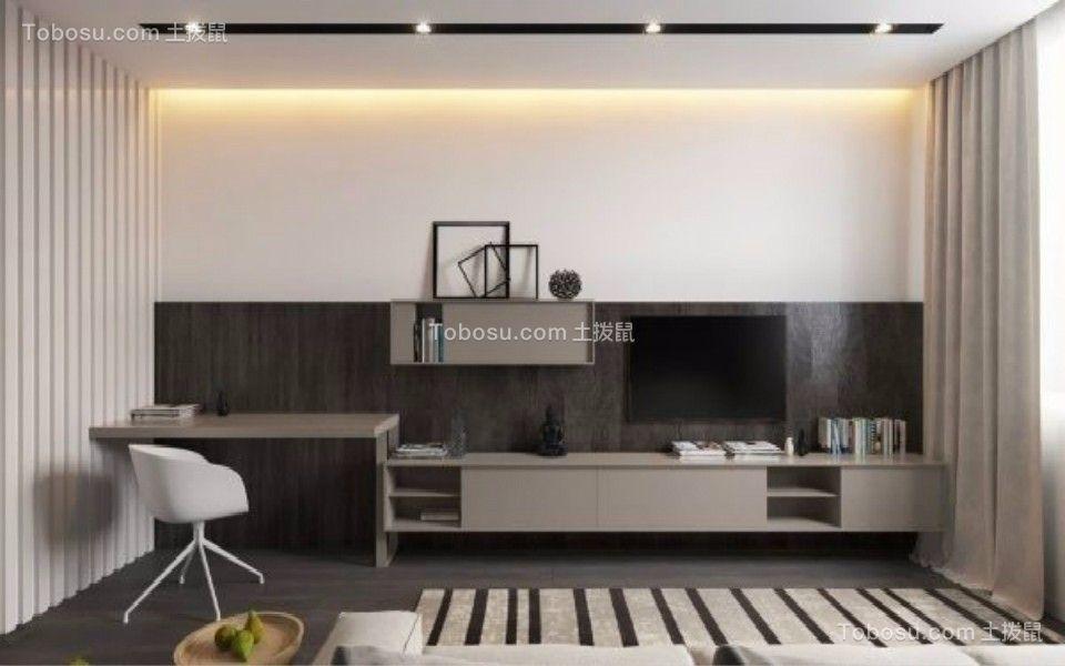 客厅咖啡色电视柜现代简约风格装潢图片