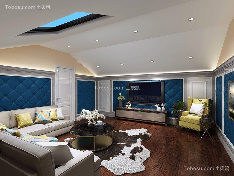 地下室米色电视柜简欧风格装修设计图片