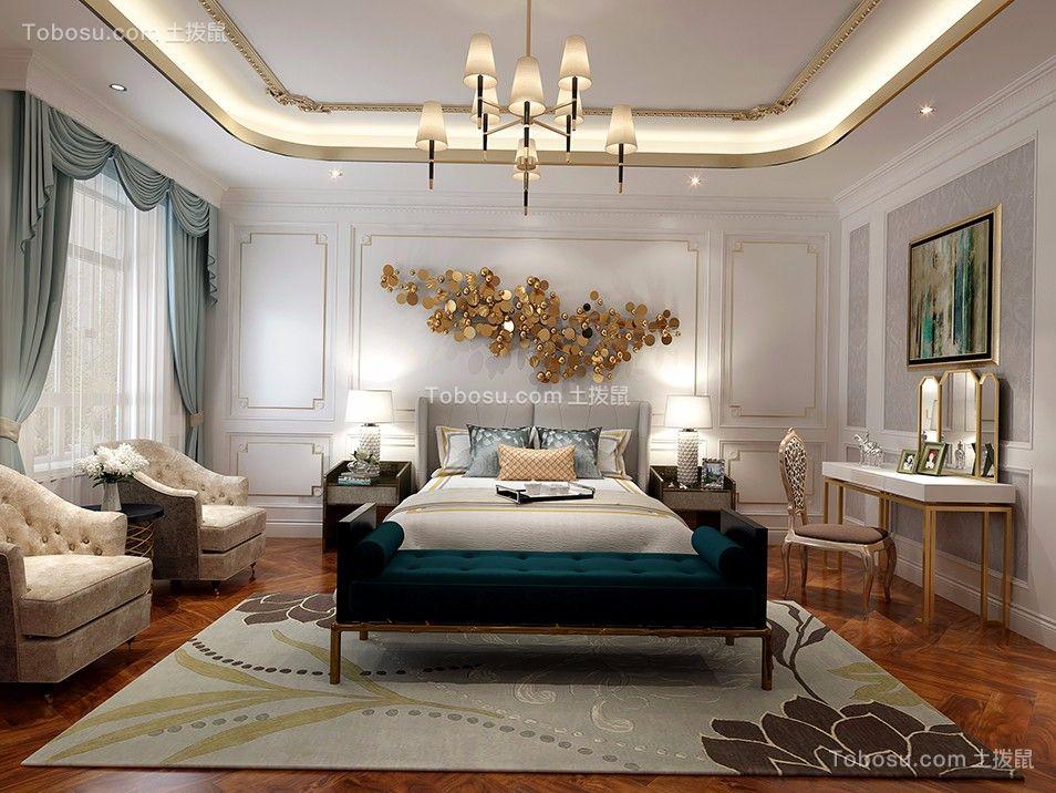 卧室米色床美式风格装饰图片