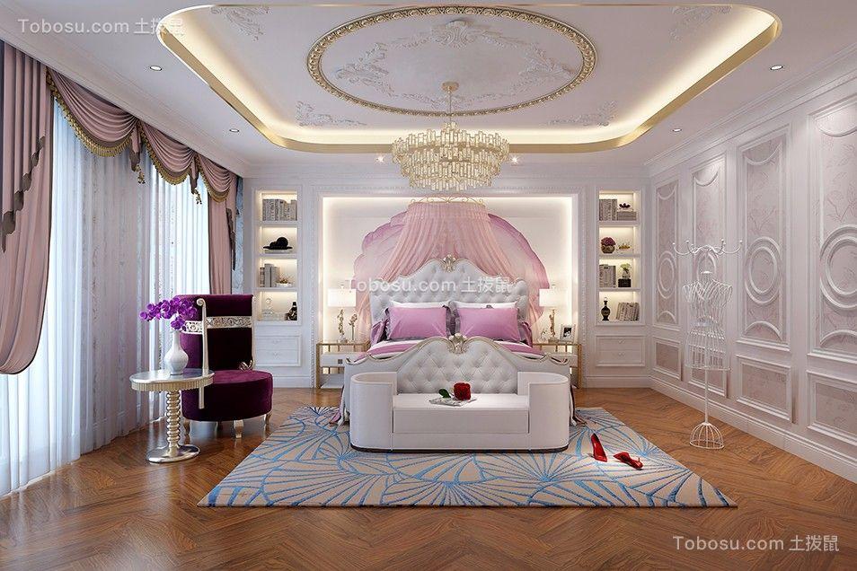 儿童房粉色床美式风格装潢图片