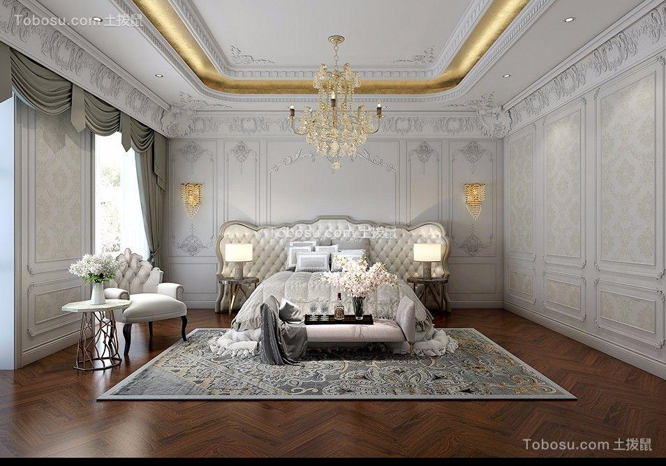 卧室灰色床美式风格装修设计图片