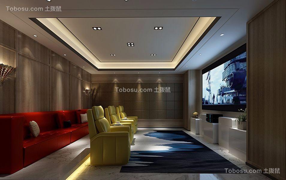 地下室彩色电视柜混搭风格装饰效果图