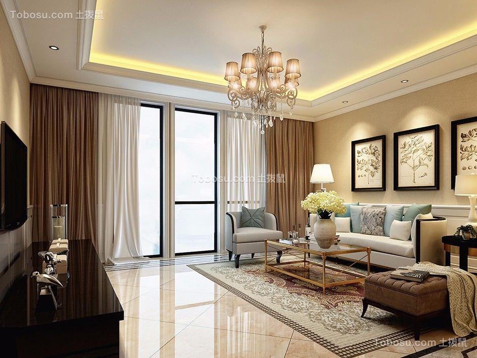 起居室米色地砖美式风格装潢图片