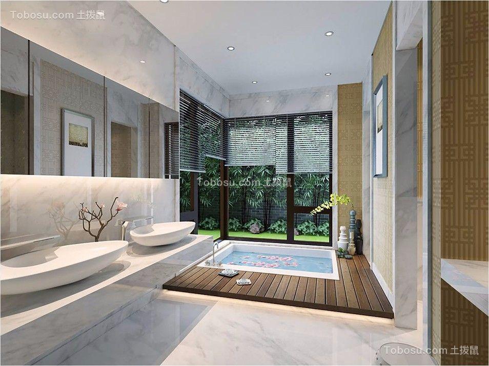 浴室白色洗漱台中式风格装修设计图片