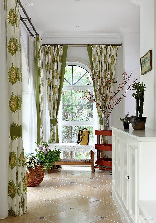 阳台绿色窗帘美式风格装修设计图片