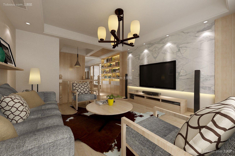 客厅灰色电视柜日式风格装潢设计图片