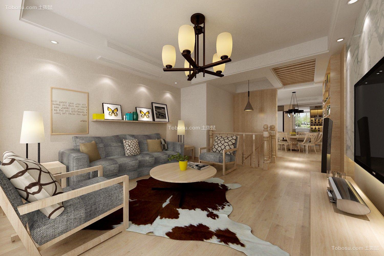 客厅灰色沙发日式风格装修效果图