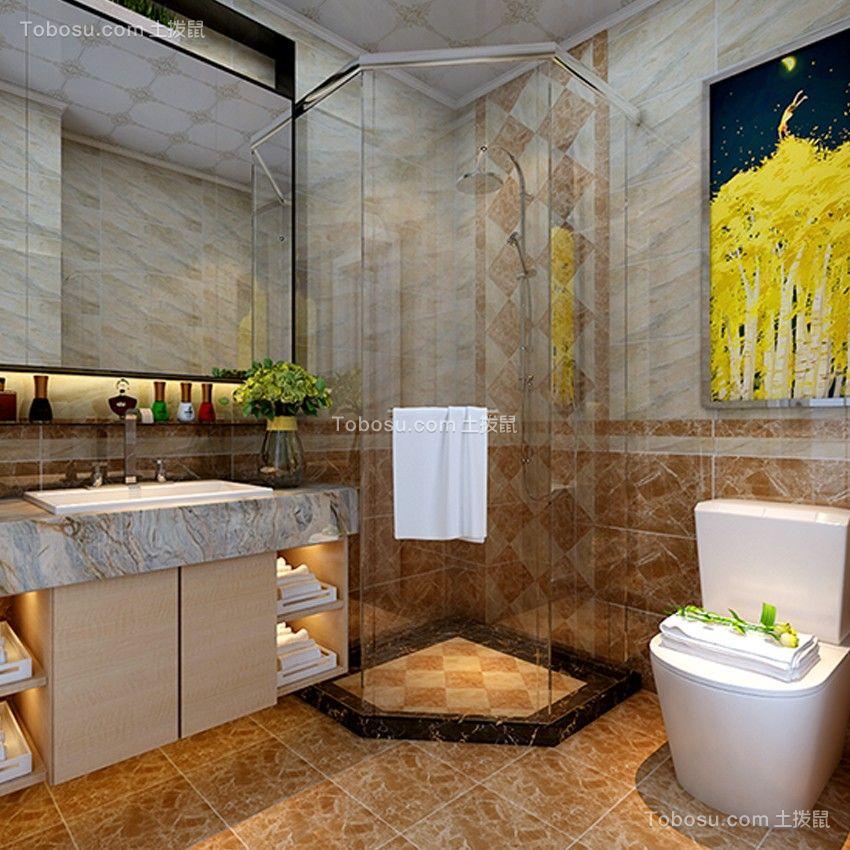 卫生间咖啡色地砖简约风格装饰图片