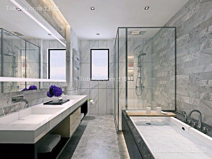 卫生间灰色洗漱台现代中式风格装饰效果图