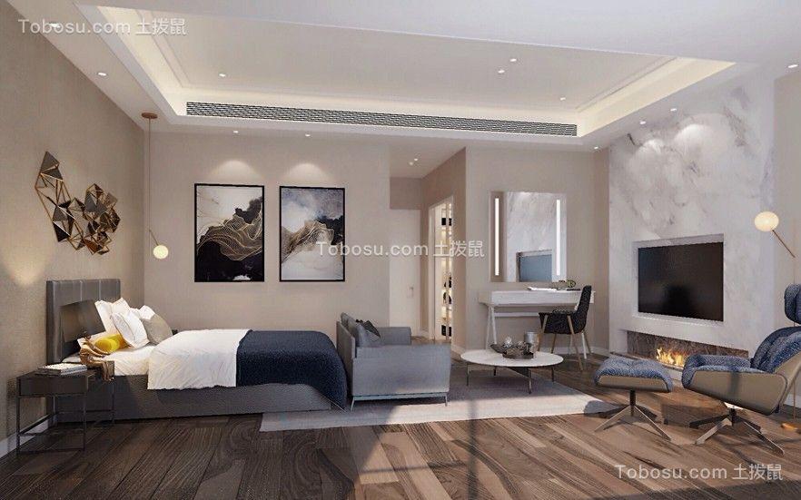 卧室灰色床现代中式风格装潢效果图