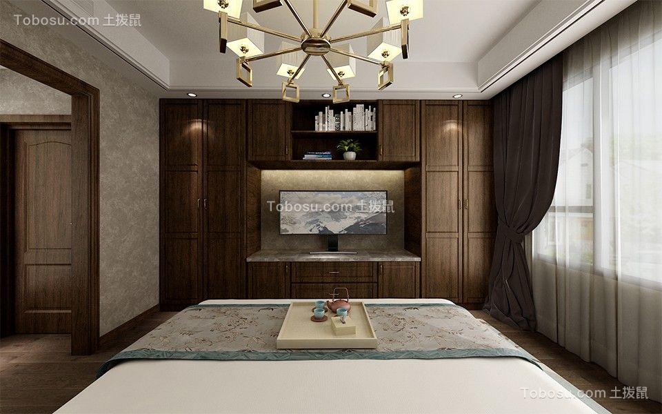 卧室红色床头柜新中式风格装饰设计图片