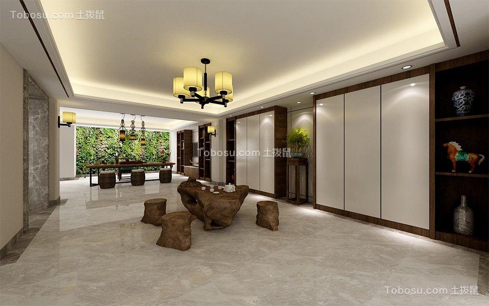 客厅白色吊顶新中式风格效果图