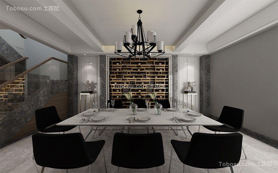 餐厅白色灯具现代风格效果图