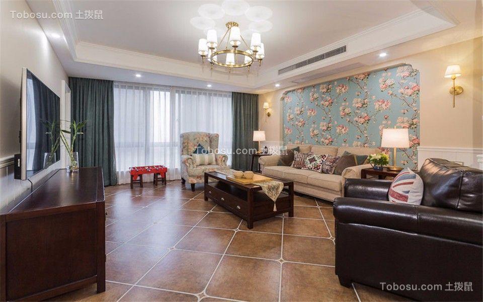 客厅白色吊顶美式风格装饰图片