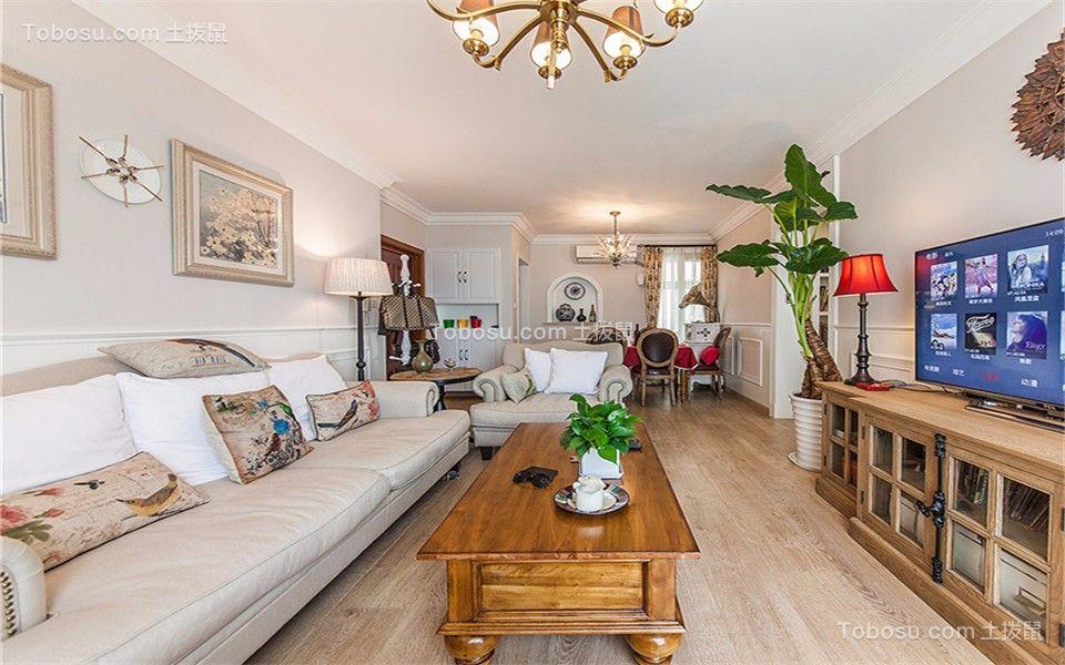 客厅白色吊顶美式风格装潢设计图片
