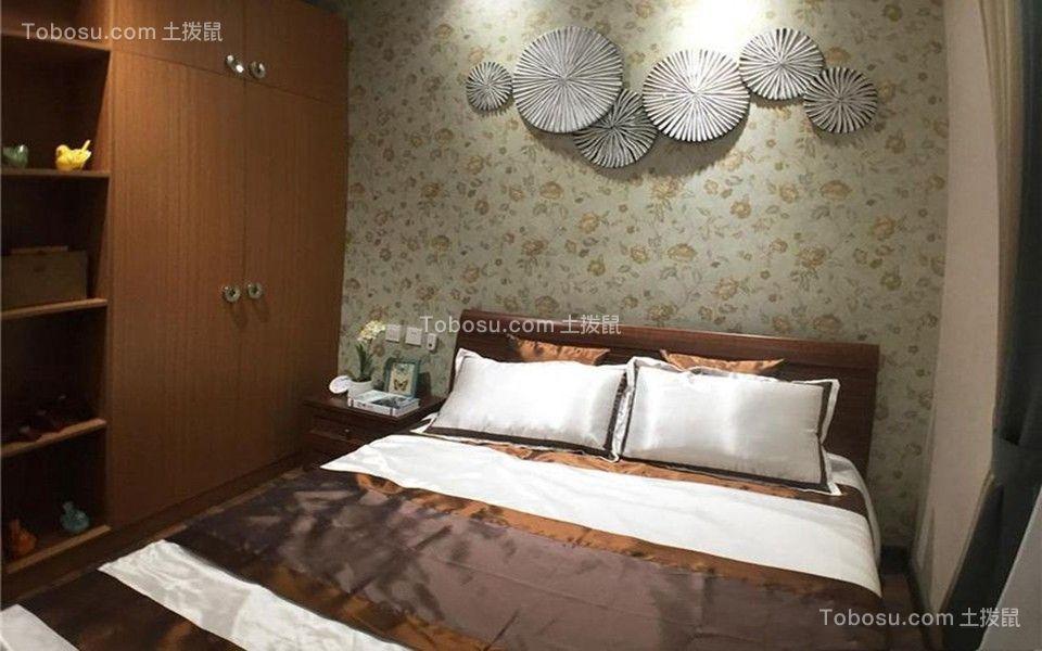 卧室灰色背景墙古典风格装饰设计图片