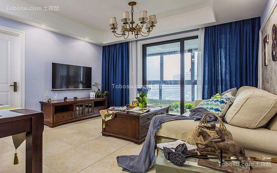 89平米美式风格二居室装修效果图