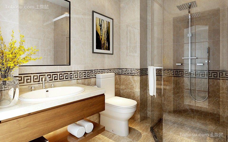 卫生间咖啡色洗漱台新中式风格装潢图片