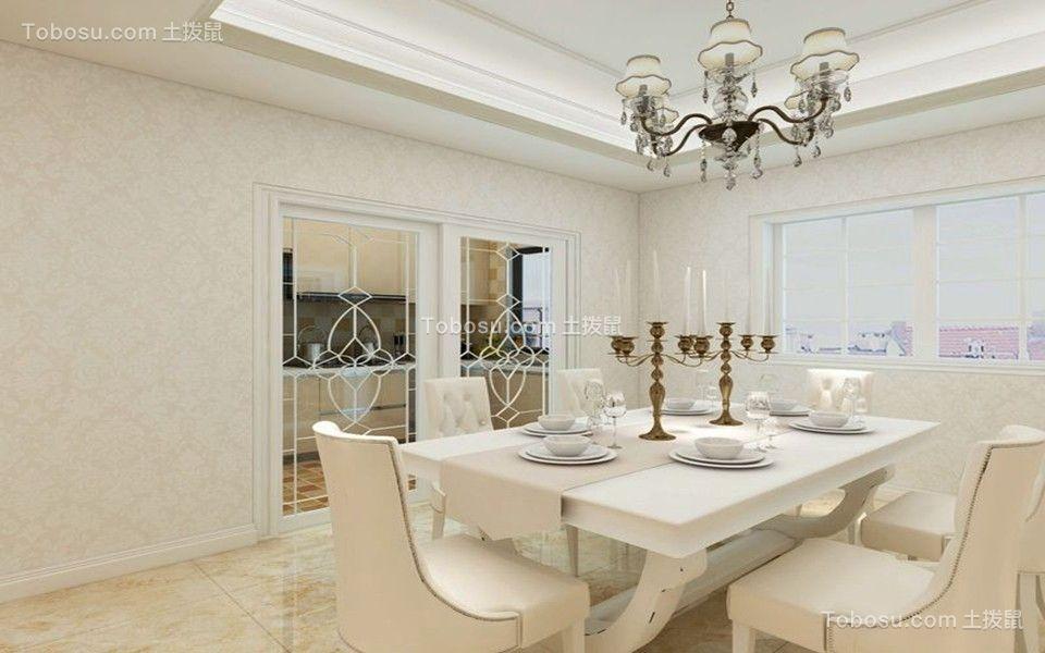餐厅白色灯具欧式风格装修图片