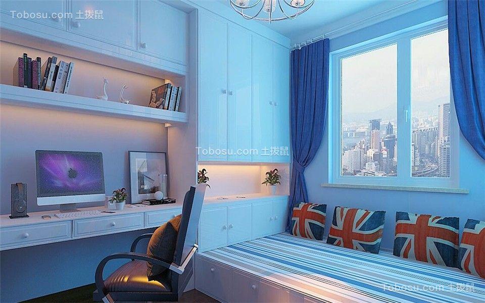 儿童房蓝色窗帘新中式风格装潢效果图